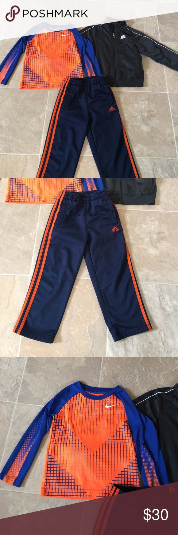 4T Boys Nike Adidas 3 Piece Set  🎀🎉✨ Condition- pre owned flawless  Size - toddler boys 4T Color-gray and white zip up / orange & blue Top / blue and orange pants Style- Dri Fit Nike top and zip up jacket / Dri Fit sweatpants  Brand- Nike and adidas Smoke free pet free home!! Ships within 2 business days!  Bundle with 2 or more listings and save 25% through march Nike Shirts & Tops Tees - Short Sleeve