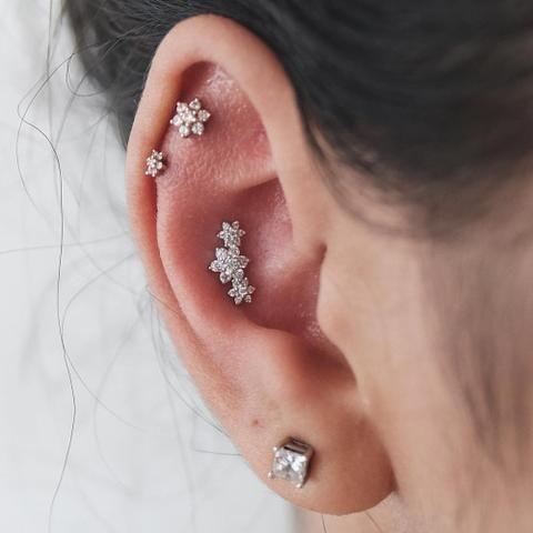 Crystal Flower Ear Piercings at MyBodiArt