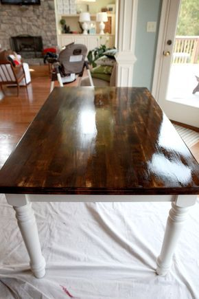 "table w/ 3 coats of zinsser poly this would so work on my dining table. THAT""S IT @angelgirl973 meet me at Bunnings NOW! :P"