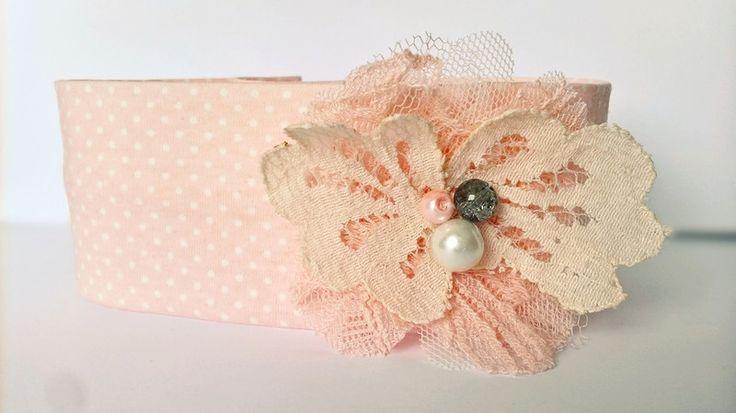 Bawełniana opaska kwiatek tiul perełki koronka - MadebyKaza - Opaski dla niemowląt