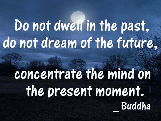 Do not dwell in the past, do not dream of the future, concentrate the mind on the present moment. _ Buddha