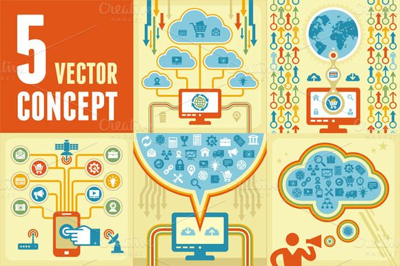 Check out 5 Vector Concept of Internet Theme by serkorkin on Creative Market