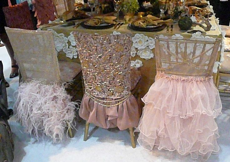 Chair covers Tablescape Centerpiece www.tablescapesbydesign.com https://www.facebook.com/pages/Tablescapes-By-Design/129811416695
