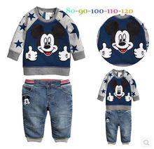 2014 ragazzi dei jeans vestito di autunno dei vestiti nuovi del fumetto a maniche lunghe t-shirt + pants 2 pz/set vestito di svago(China (Mainland))