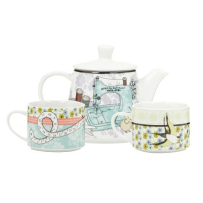 Super-cute 'Ashley Thomas at Home' Porcelain lilac sewing design tea for two set from Debenhams.ie
