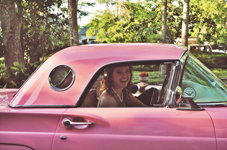 One doesn't have too many worries when riding around in a pink T-Bird.