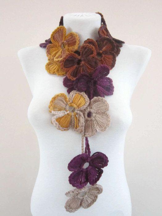 Scarf Crochet Lariat Scarf Flower Lariat Scarves by scarfnurlu