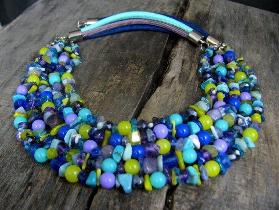 Statement Multicolor necklace  Multi strand necklace  Spring