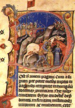 Szent László egyik képi megjelenését látjátok, mely egy iniciálé részlet. Próbáljatok meg ehhez hasonlókat keresni és próbáljátok meg megfogalmazni egy rajz segítségével, hogy mit mondanak el a király életéről és erényeiről.
