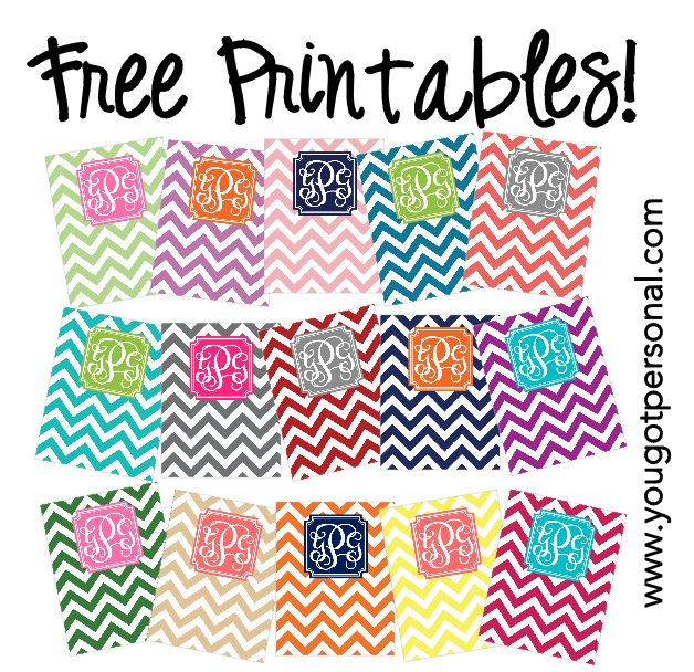 DIY Free Printable Monogrammed Chevron Binder Covers