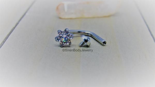 J Curve Belly Button Piercing Ring 14g Deep Navel Piercing Barbell