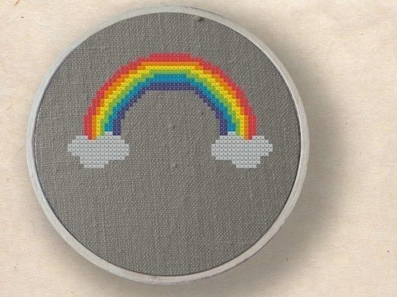 Rainbow. Cross Stitch PDF Pattern by andwabisabi on Etsy, $2.50