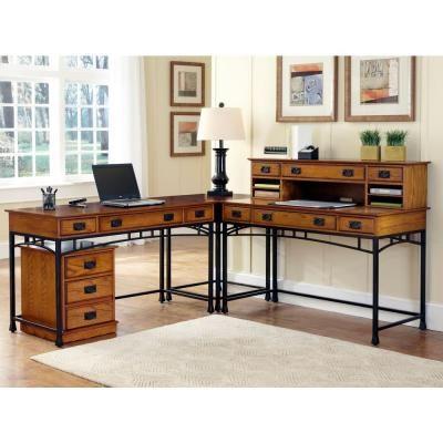 Home Styles Modern Craftsman Corner L-Desk and Mobile File-5050-15271 - The Home Depot