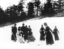 Canadian womens ice hockey - c. 1890 (earliest known image of women's hockey). The first traces of women's hockey in Canada date back to 1890s when it is played at the university level. The University of Toronto and Queen's University in Kingston, Ontario were two of the first Canadian universities to field women's hockey. There have been disputes over where the first women's hockey game was played in Canada. The Woman's H A claims that the city of Ottawa, Ontario hosted the first game in…