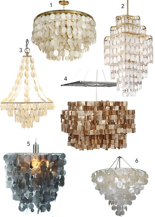 From stylecarrot.com/tag/horchow   capiz-shell-chandeliers-1