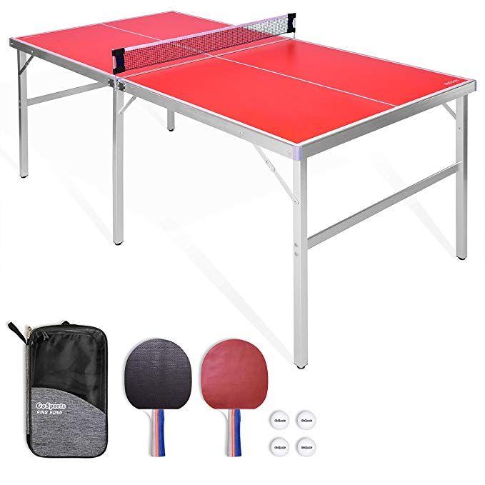 Amazon Com Gosports 6 X3 Mid Size Table Tennis Game Set Indoor Outdoor Portable Table Tennis Game With Ne In 2020 Table Tennis Ping Pong Table Table Tennis Game