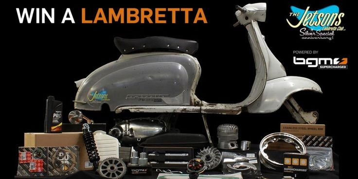 Verlosung einer Lambretta 125 2. Serie Jetsons Lambretta Club 25th SilverSpecial Anniversary 14.-16.8.2014 in Paderborn Dieses Jahr begeht der Jetsons Lambretta Club sein 25-jähriges Bestehen.