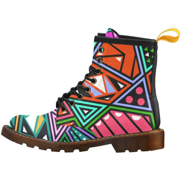 Prissy Colorful Abstract Art Unique Trendy Women Fashion Winter Boots ($75) ❤ liked on Polyvore featuring shoes, boots, multi color boots, genuine leather boots, real leather boots, multicolor shoes and multi coloured shoes