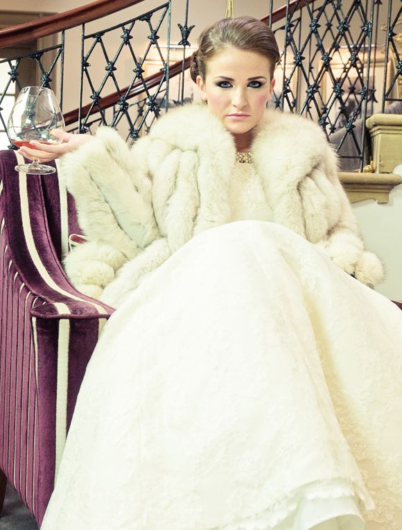 Alan Hannah gown + vintage fur coat.: Inspiration Shoots, Wedding Jacket, Planners Inspiration, Hannah Gowns, Winter Bride, Vintage Fur Coats, 2013 Veils, Winter Inspiration, Classic Winter