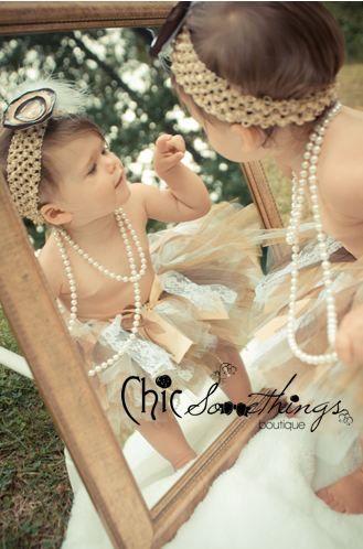 Tutu Vintage Lace Gold Pearl Brown White, Baby Tutu and puff headband set, 2T-5T, Photo Prop Tutu, Childrens Toddler Infant Tutu, Birthday. $55.00, via Etsy.