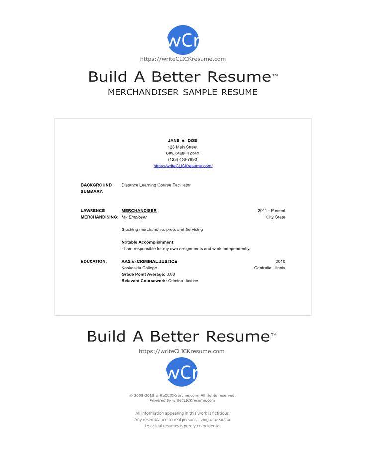 Sample merchandiser  Resume by writeCLICKresume.com