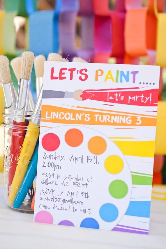 the 25+ best art party invitations ideas on pinterest | paint, Birthday invitations