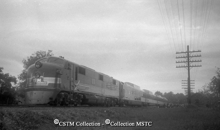 Train of Tomorrow leaving Carleton Place for Ottawa. September 1949