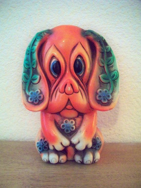 Vintage Ceramic Orange Dog Penny Bank by SkeletonStitch on Etsy, $18.00