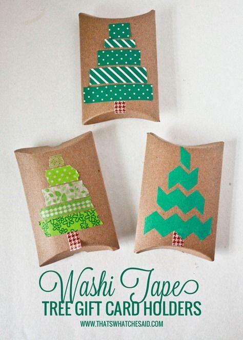 Washi Tape Christmas Tree Gift Card Holders Trees Gift