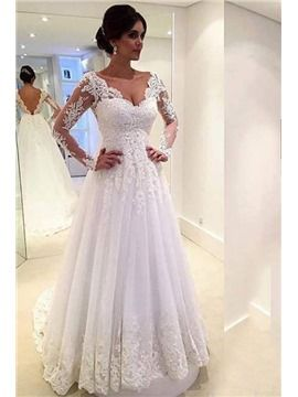 ericdress.com offers high quality  Ericdress Beautiful Long Sleeves A Line Wedding Dress Wedding Dresses 2016 unit price of $ 183.20.