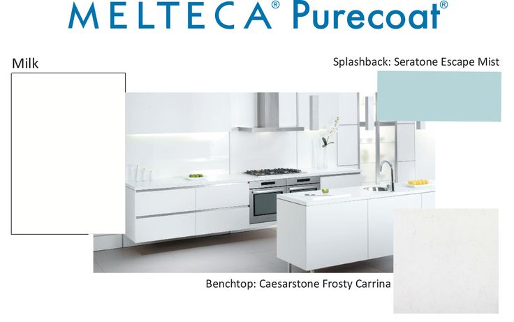 Melteca Purecoat Milk with a splashback in Seratone Escape Mist and a Caesarstone Frosty Carrina benchtop