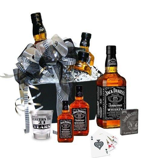 Caraway Gift Baskets - 21st Birthday Jack Daniels Gift Basket, $89.95 (http://carawaygiftbaskets.com/21st-birthday-jack-daniels-gift-basket/)