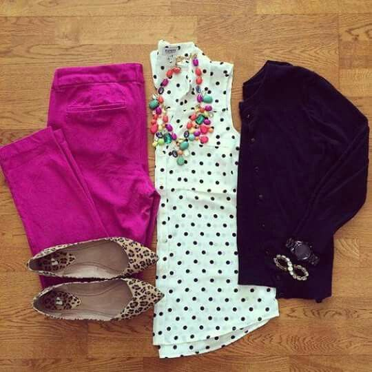I could totally do this outfit. Polka dot top (which I have), black cardigan (which I have), fuschia skinnies (which I can make with a pair of jeans, bleach, and a little RIT dye), colorful statement necklace, and leopard flats.