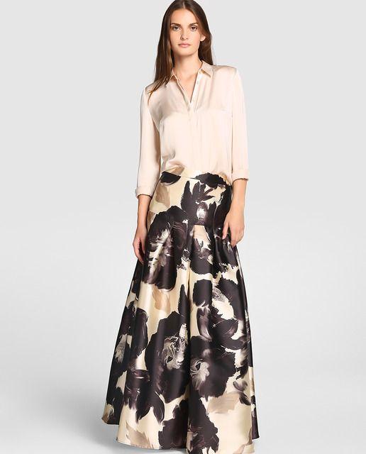 Falda midi de fiesta con estampado