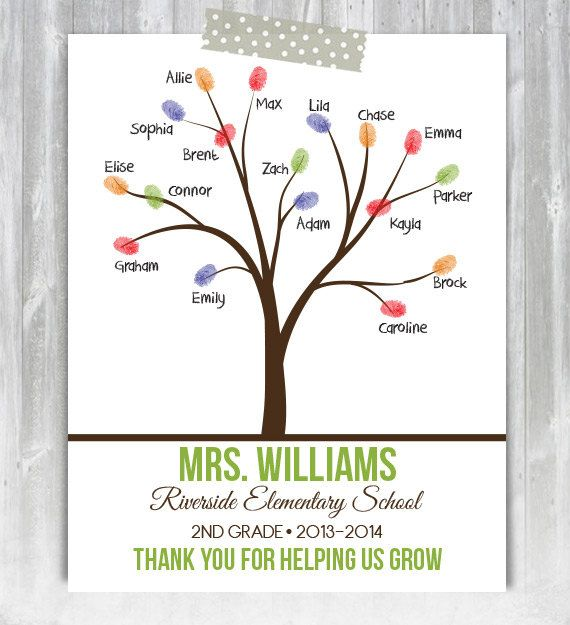 PRINTABLE Personalized Teacher Thumpbrint Tree 8.5x11 or 11x14 Print - Child Hand Art, Kid Art Project, Gift for Teacher, Teacher Gift