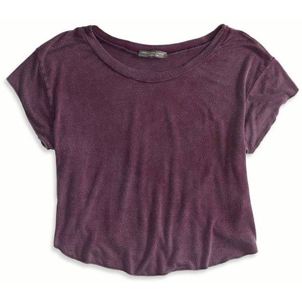 American Eagle Outfitters Don't Ask Why Swingy Cropped Tee ($25) ❤ liked on Polyvore featuring tops, t-shirts, shirts, crop tops, raisin wine, curved hem t shirt, purple t shirt, curved hem tee, jersey t shirt and lightweight t shirts