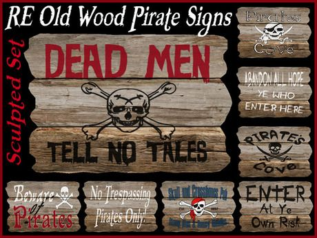 RE Old Wood Pirate Sculpted Signs - 10 Fun Decorations/Decor/Halloween