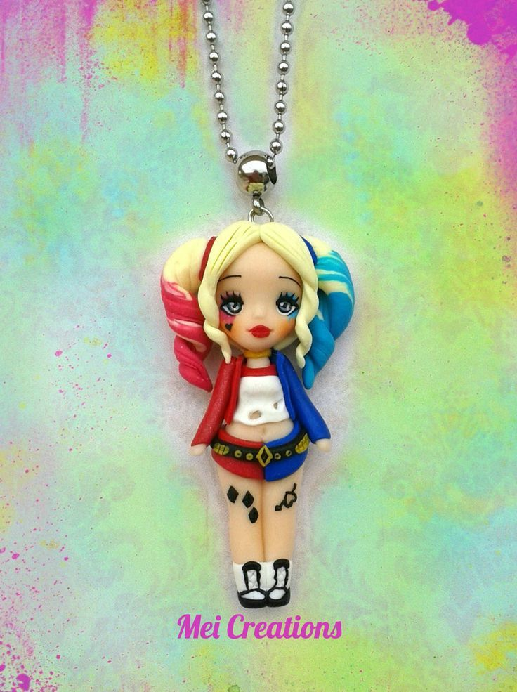 Personalized Photo Charms Compatible with Pandora Bracelets. Harley Quinn versione Suicidé Squad, bambolina in fimo, handmade polymer clay…