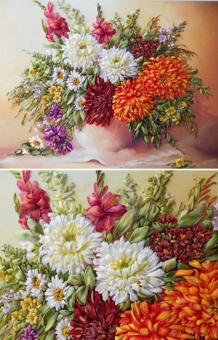 "Ribbon embroidery | Картина лентами ""Букет хризантем"""