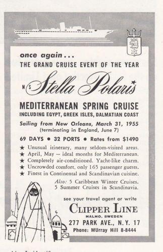 1954 Clipper Line: Stella Polaris, Mediterranean Spring Cruise Print Ad