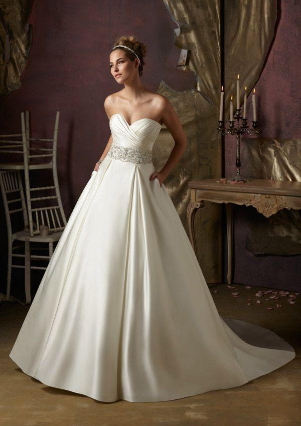Beautiful  Wedding Gowns Dresses Crystal Beaded Embroidery on Duchess Satin SimpleWeddingDresses ElegantWeddingDresses