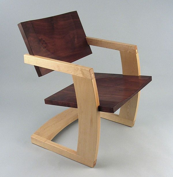 Contemporary wood cantilever chair - PALO ALTO - J Rusten Furniture Studio - Videos