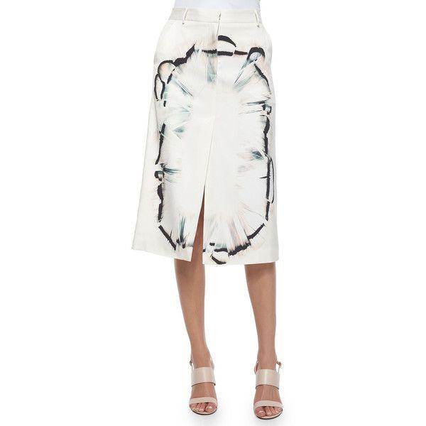 Halston Heritage Feather-Scarf-Print Midi Skirt W/ Front Slit (15,780 PHP) ❤ liked on Polyvore featuring skirts, dark bone, slit skirt, slit pencil skirt, asymmetrical skirt, calf length pencil skirt and white asymmetrical skirt
