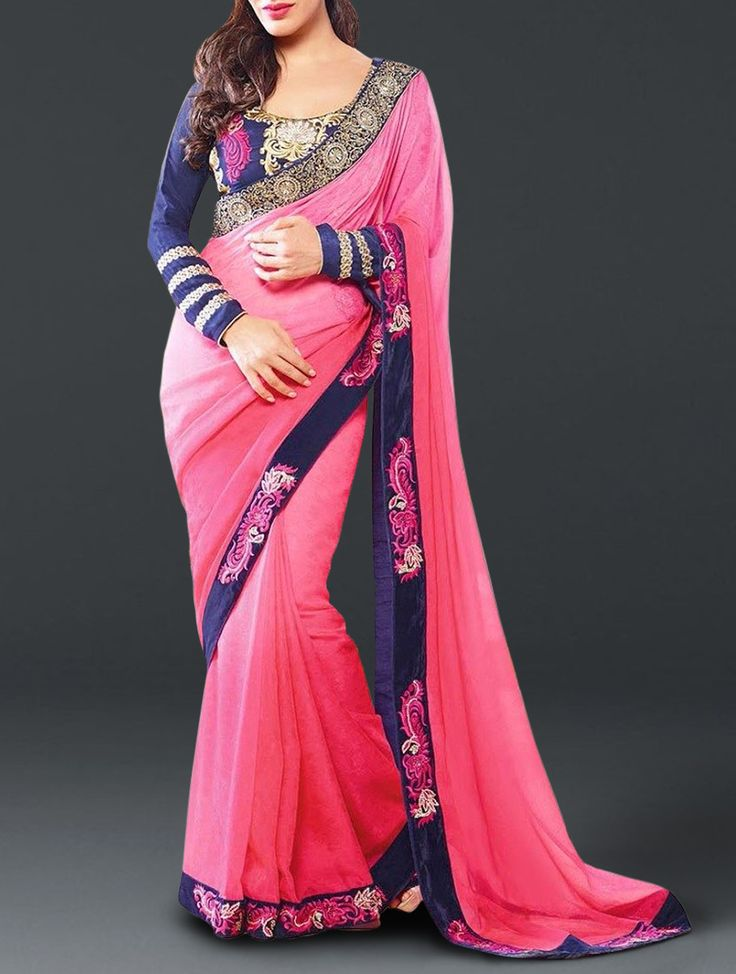Pretty Pink Fancy Embroidered Georgette-Jacquard Saree
