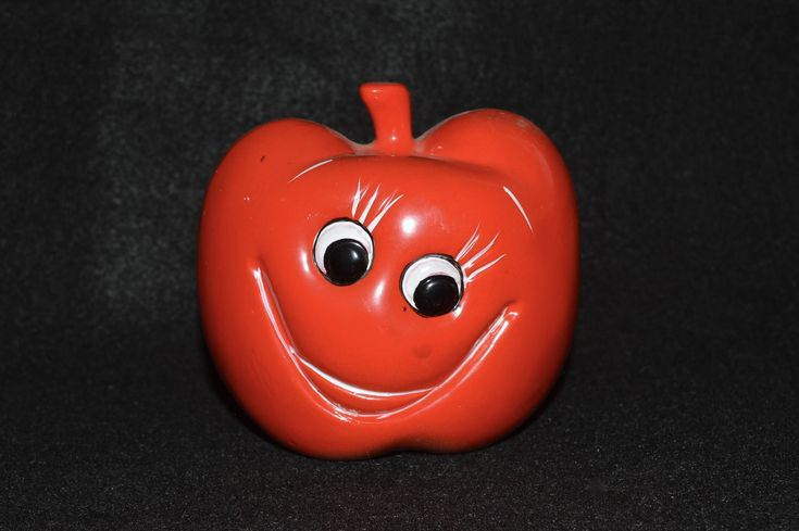Red Apple Planter, Apple with Face, Rubens Originals, Goofy Face, Apple Pottery, Gift for Teacher, Smiley Face Apple, Apple Pottery Decor by FabulousVintageStore on Etsy