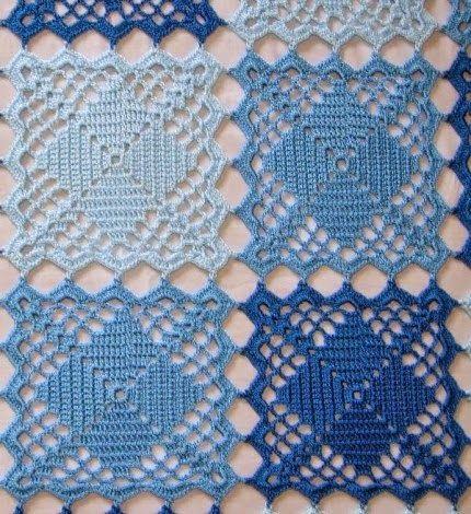 Belos quadrados de crochê