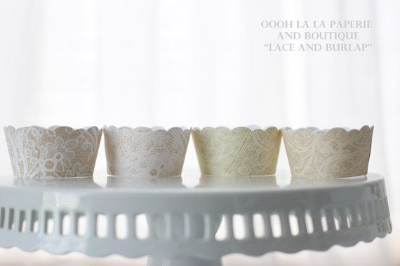 Lace and Burlap Cupcake Wrappers Set of 12 by ooohlalapaperie, $3.60