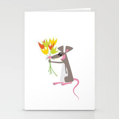 Some Rats Garden - stationary cards http://society6.com/inkrobin/Some-Rats-Enjoy-Gardening_Cards#16=71