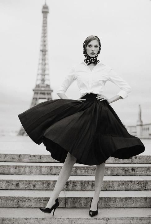 Full skirts, Paris, black and white. Perfect.