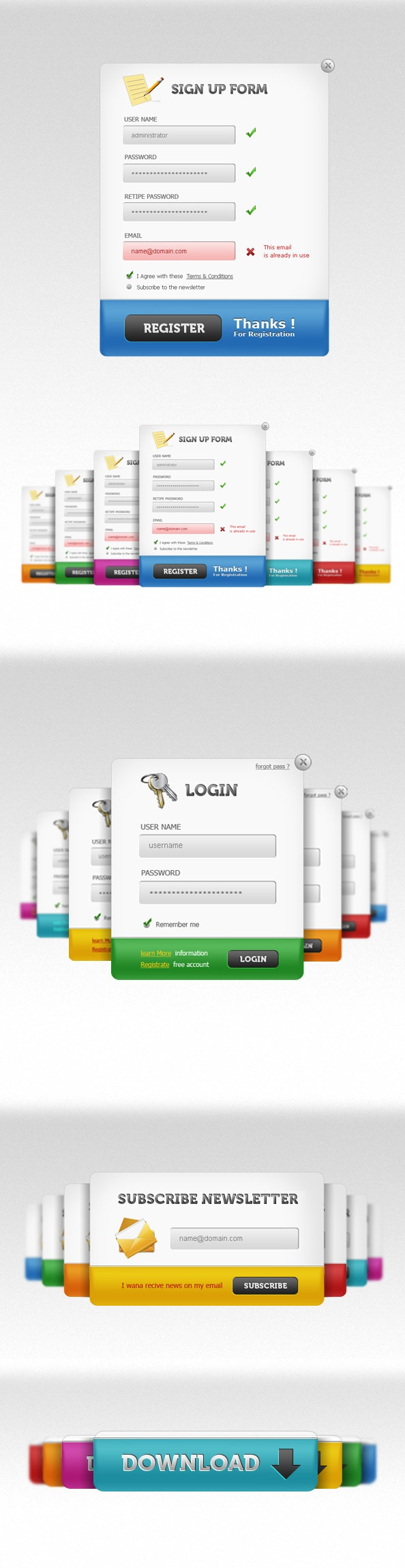 UI PSD Pack – Sign up forms, login panels, subscribe forms + download buttons